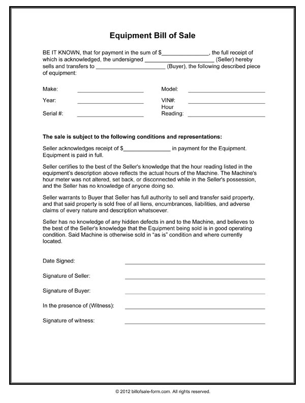 Bill Of Sale Form Free Printable Documents