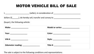 Sale Form Motor Vehicle Bill Of Sale Form Motorcycle Bill Of Sale Form ...