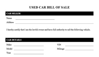 ... Bill Of Sale Form Motorcycle Bill Of Sale Form Used Car Bill Of Sale