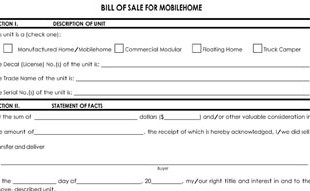 mobile home bill of sale template