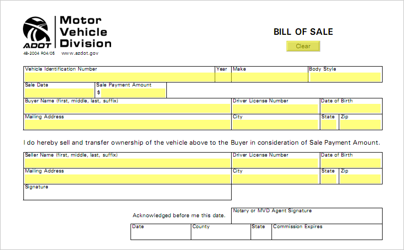 arizona you will need to have a printable arizona bill of sale form